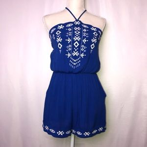 Xhilaration Blue Embroidered Romper, S